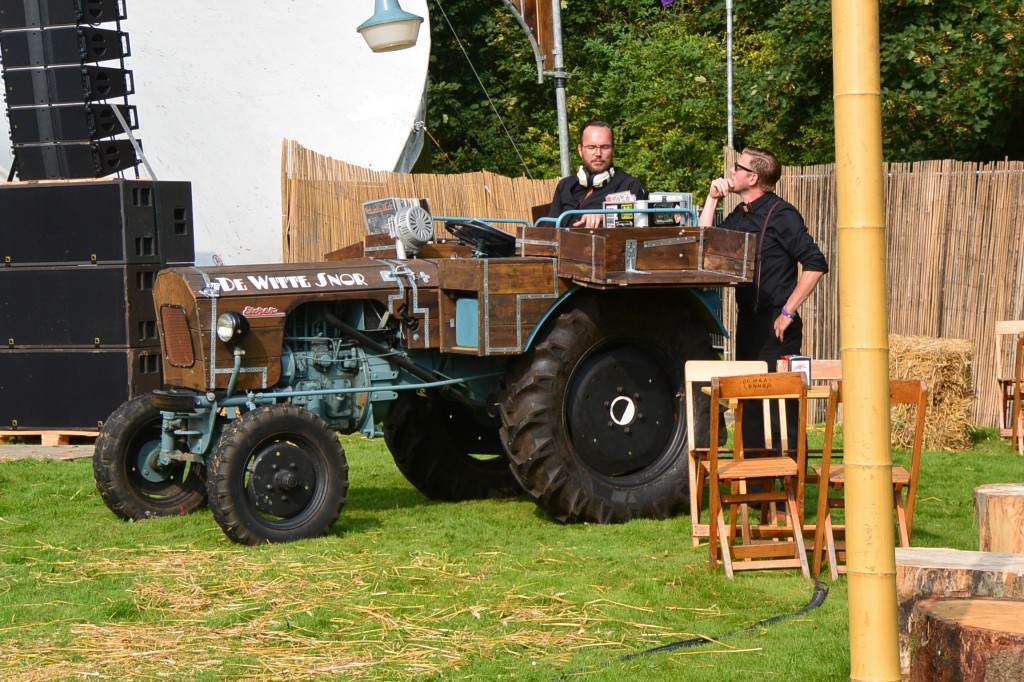 DJ was doing his thing from a tractor…with real vinyl records. You cant get cooler than that!