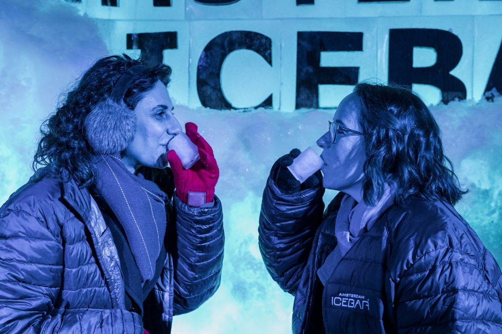 Joanna and I at the Ice Bar in Amsterdam