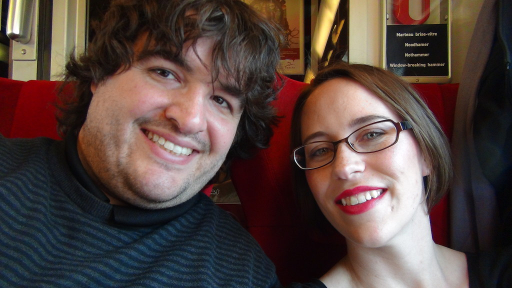 Sean and Jess on a train