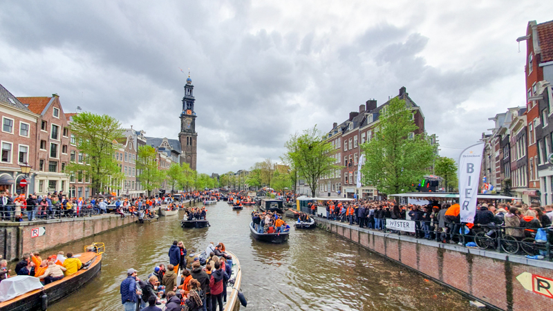 Wide view of Amsterdam canal