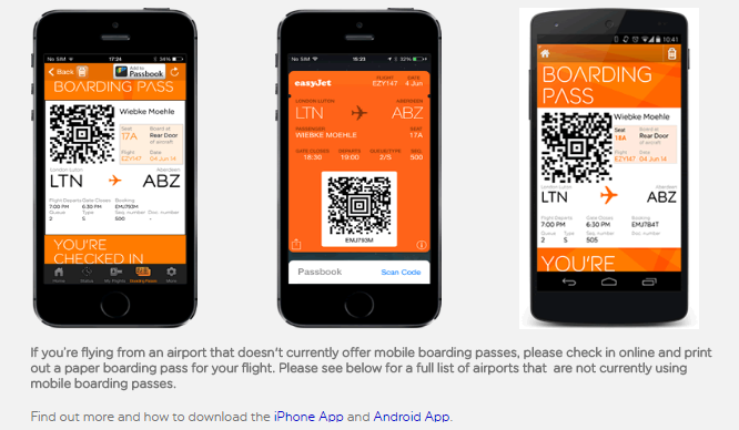 easyjet mobile boarding passes