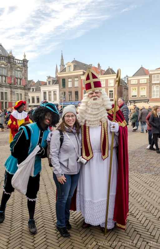 Jessica with Sinterklaas and Zwarte Piet