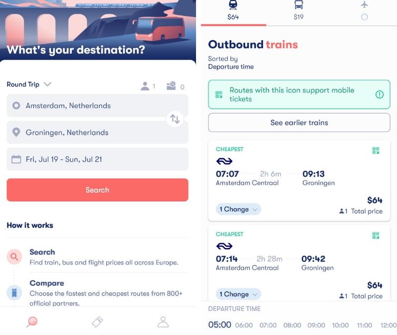 Omio app review - Omio search screen