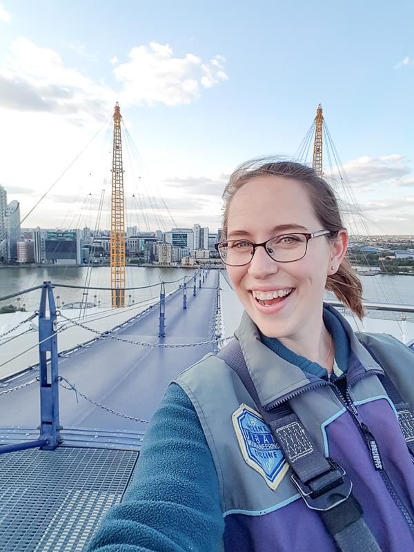 Climbing selfie with London