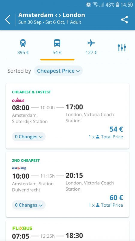 GoEuro options from Amsterdam to London