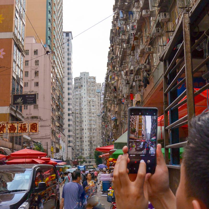 Hong Kong street with phone