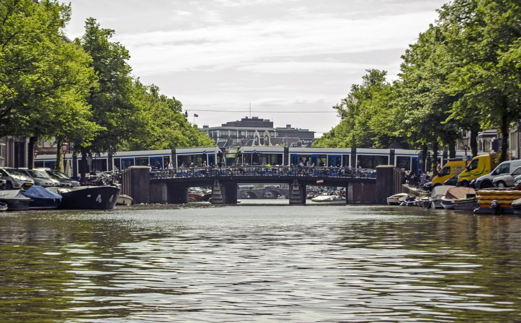 Amsterdam bridge with tram
