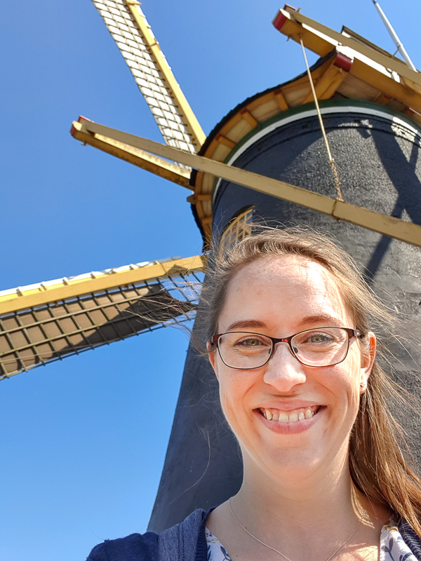 Jessica with windmill