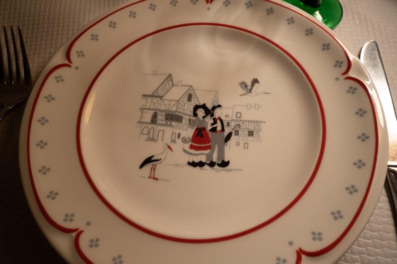 plates in Alsatian restaurant