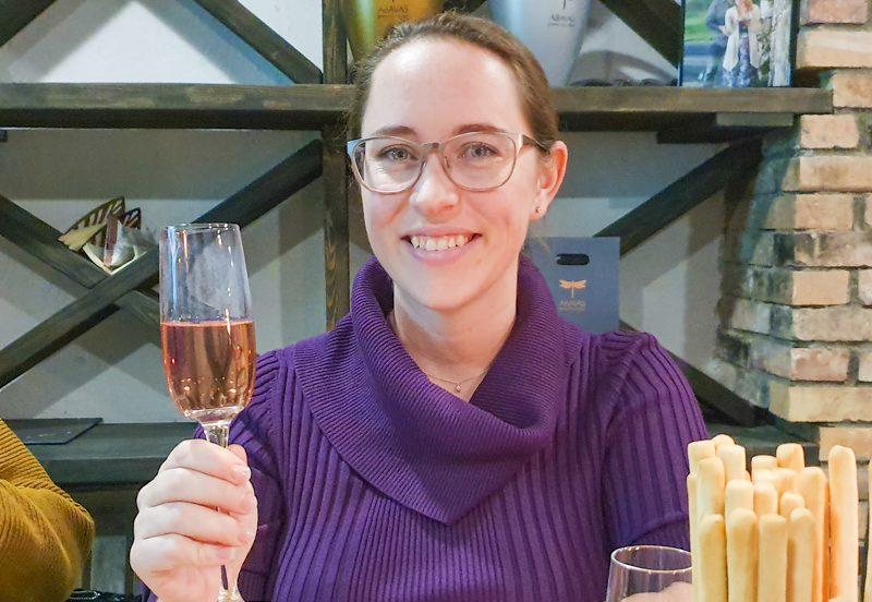 Jessica with Latvian Rhubarb Wine