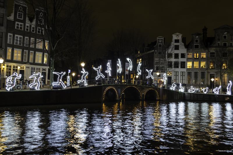 Ansterdam Light Festival running man