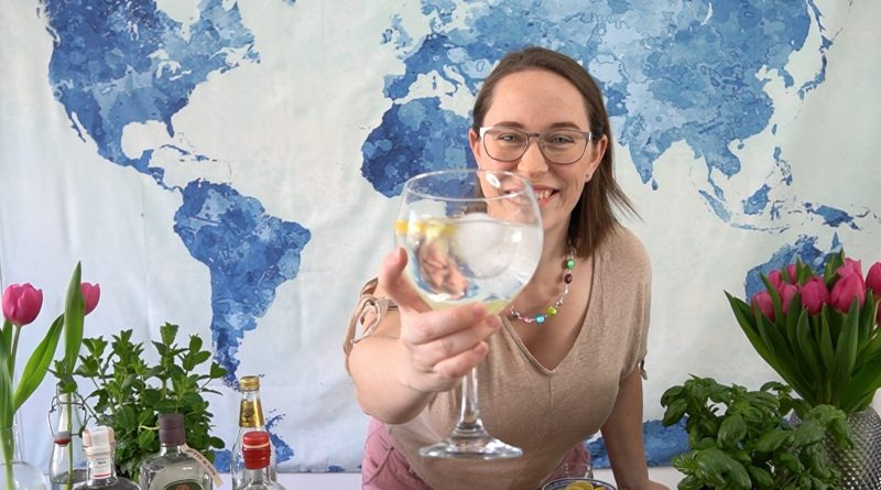 Jessica with a gin and tonic