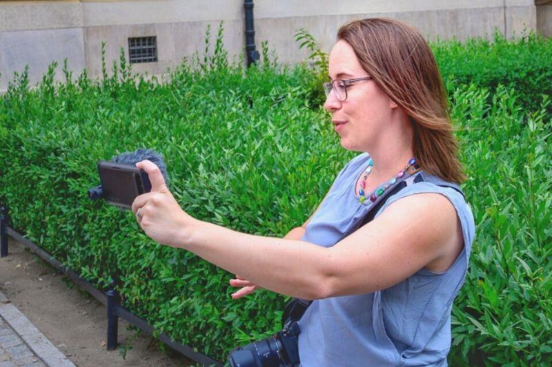 Jessica vlogging with phone