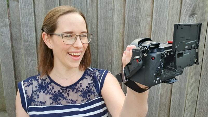 Jessica vlogging back of camera 2