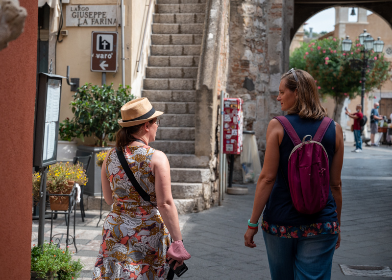 Jessica with tour guide in Taormina