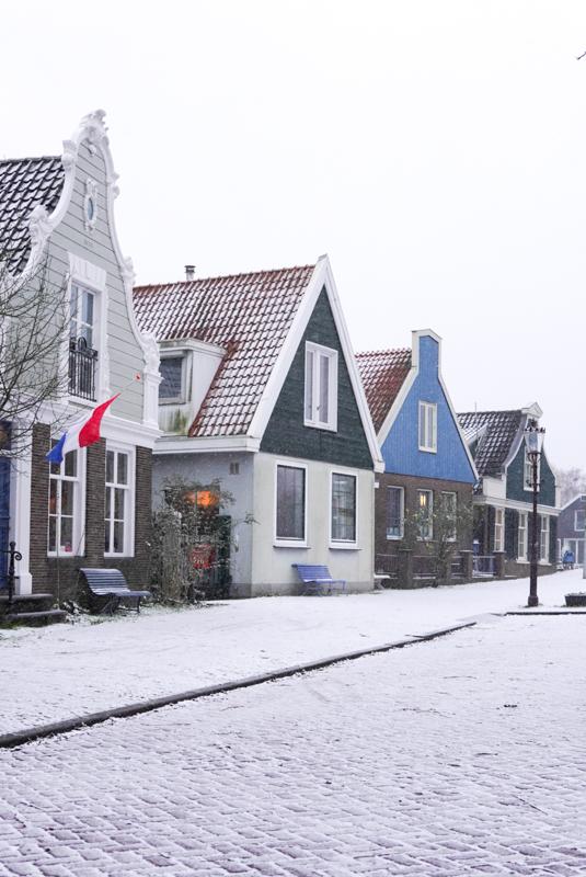 Snowy street in Amsterdam Noord