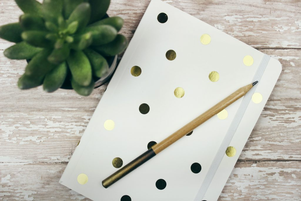 White Notebook with gold polka dots and pencils on top next to a succulent